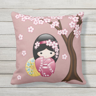 Spring Kokeshi Doll - Cute Japanese Geisha on Pink Outdoor Pillow