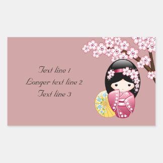 Spring Kokeshi Doll - Cute Japanese Geisha on Pink Sticker