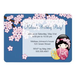 Spring Kokeshi Doll - Japan Geisha Birthday Party Card