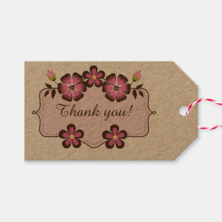 Spring Label Thank you Tag with Frame Pack Of Gift Tags