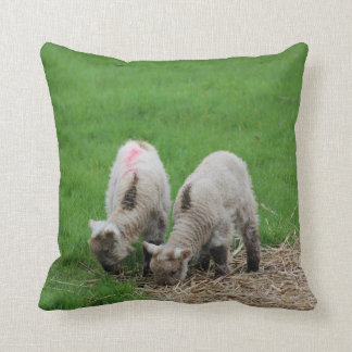 Spring Lambs Throw Pillow