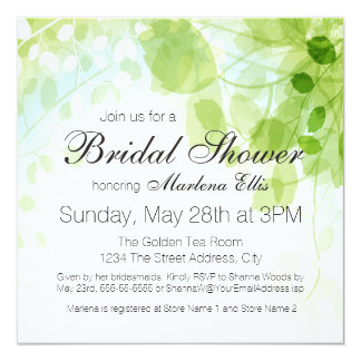 "Spring Leaves Watercolor Bridal Shower 5.25"" Square Invitation Card"