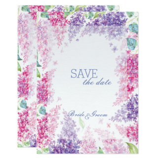 Spring Lilac Flower Blossom-Floral  SAVE the Date Card