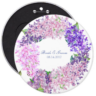 Spring Lilac Flower Blossom-Floral Wedding 6 Inch Round Button
