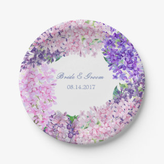 Spring Lilac Flower Blossom-Floral Wedding Paper Plate