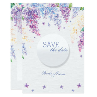 Spring Lilac Flower Floral Wedding SAVE the Date Card