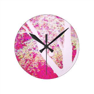 Spring Maple: hot pink Wall Clocks