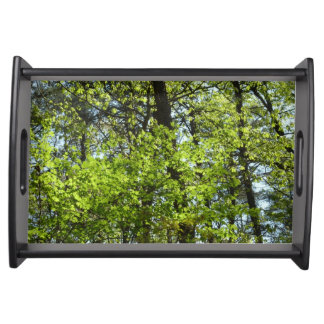 Spring Maple Leaves Green Nature Serving Tray