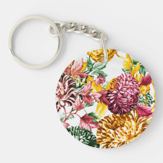 Spring Medley Garden Botanical Floral Double-Sided Round Acrylic Keychain