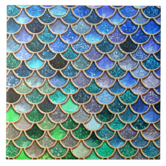 Spring Mermaid Green Glitter Scales- Mermaidscales Tile