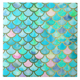 Spring Mermaid Watercolor Scales- Mermaidscales Tile