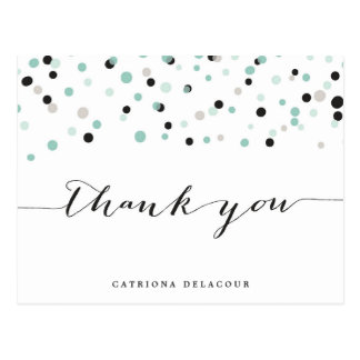 Spring Mint Confetti Dots Thank You Postcard