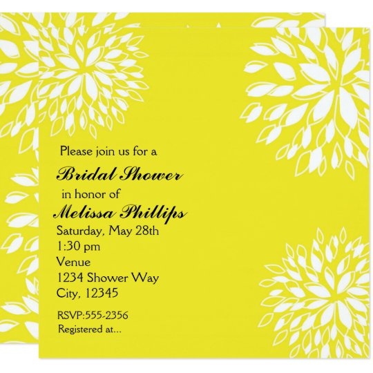Spring Modern Yellow & White Floral Invitation
