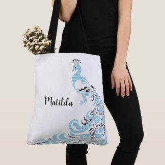 Spring-Monogram-Blue-Peacock-Totes-Shoulder-Bags Tote Bag