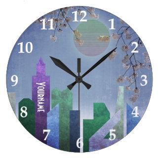Spring Night Sakura Cherry Blossom Geometric City Clock
