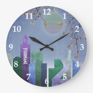 Spring Night Sakura Cherry Blossom Geometric City Large Clock