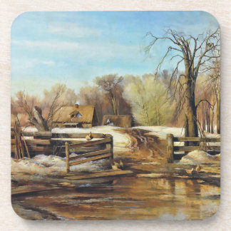 Spring on the Farm with Last of the Winter Snow Drink Coasters