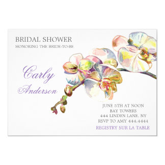 Spring Orchid Floral Bridal Shower Invitation