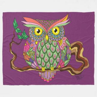 Spring Owl Fleece Blanket