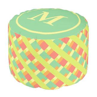 Spring Palette Geometric Tiles Monogram Pouf