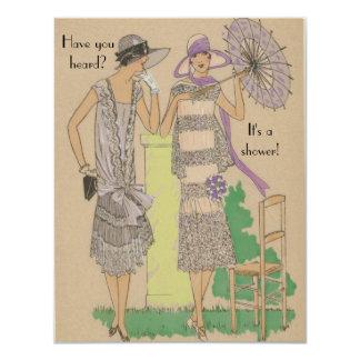 "Spring Parisian Flapper Fashion Shower 4.25"" X 5.5"" Invitation Card"
