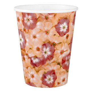 Spring Party Peach Orange Phlox Flower Print Paper Cup