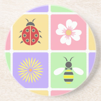 Spring Patches Sandstone Coaster