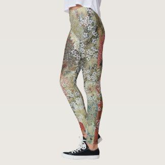 Spring Peacocks Under Blossom Tree Leggings