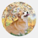 Spring - Pembroke Welsh Corgi 7b Round Sticker