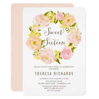 Spring Peonies Wreath Sweet Sixteen Invitation