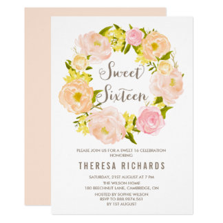 Spring Peonies Wreath Sweet Sixteen Invitation
