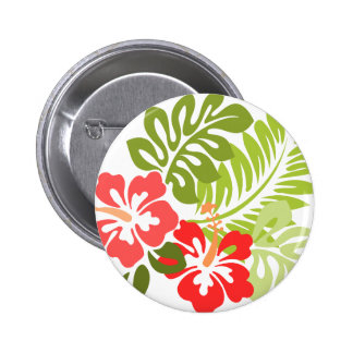 Spring Pink and Red Hibiscus Flowers Hawaii 2 Inch Round Button