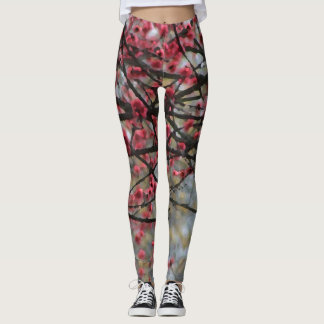 Spring Pink Cherry Blossoms Floral Running Yoga Leggings