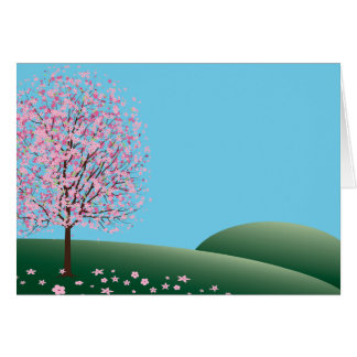Spring Pink Flowers Blank Notecard