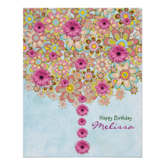 Spring Pink Flowers Tree - birthday poster