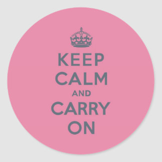 Spring Pink Keep Calm and Carry On Slate on Classic Round Sticker