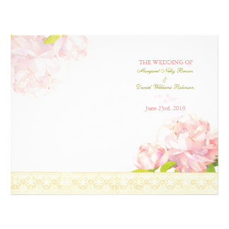 Spring Pink Peony Bi Fold Wedding Program Personalized Flyer