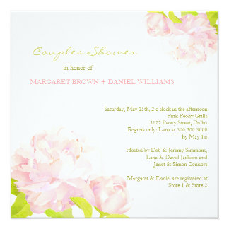 "Spring Pink Peony Wedding Couples Shower 5.25"" Square Invitation Card"