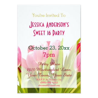 Spring Pink Red Tulip Sweet 16 Birthday Card