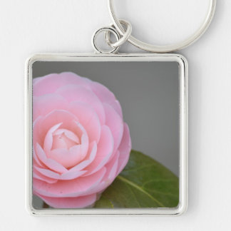Spring Pink Rose Silver-Colored Square Keychain