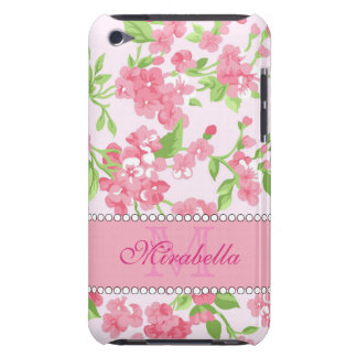 Spring pink watercolor Blossom Branches name Barely There iPod Covers