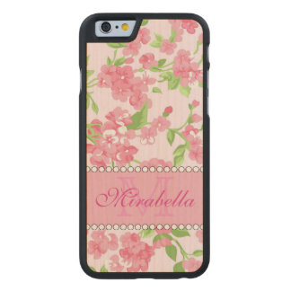 Spring pink watercolor Blossom Branches name Carved Maple iPhone 6 Case