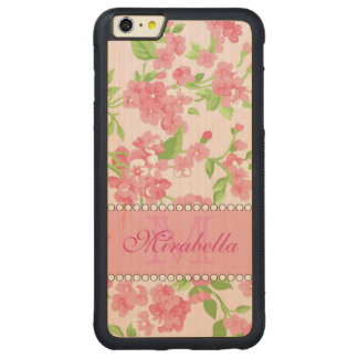 Spring pink watercolor Blossom Branches name Carved Maple iPhone 6 Plus Bumper Case