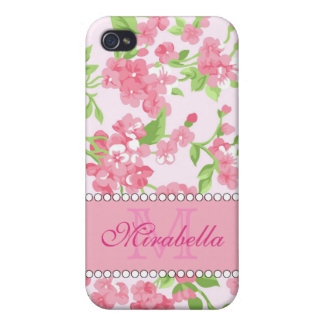 Spring pink watercolor Blossom Branches name Case For iPhone 4