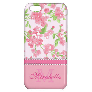 Spring pink watercolor Blossom Branches name Case For iPhone 5C