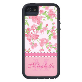 Spring pink watercolor Blossom Branches name Case For The iPhone 5