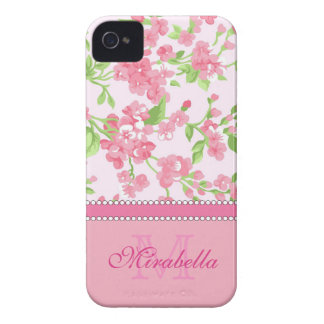 Spring pink watercolor Blossom Branches name Case-Mate iPhone 4 Case