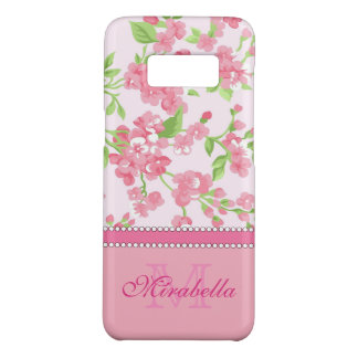 Spring pink watercolor Blossom Branches name Case-Mate Samsung Galaxy S8 Case