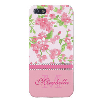 Spring pink watercolor Blossom Branches name Cover For iPhone 5/5S
