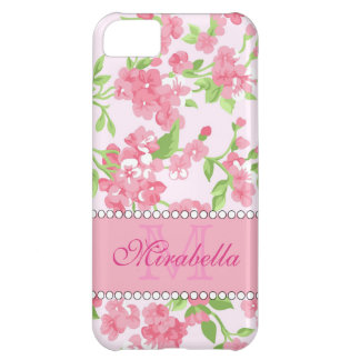 Spring pink watercolor Blossom Branches name Cover For iPhone 5C